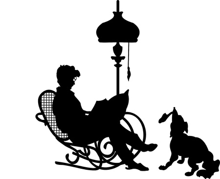 silhouette of a man in a chair Vector