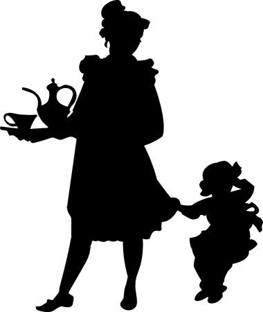 silueta de una mujer con un ni�o
