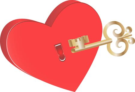 Key to heart symbol of love Illustration