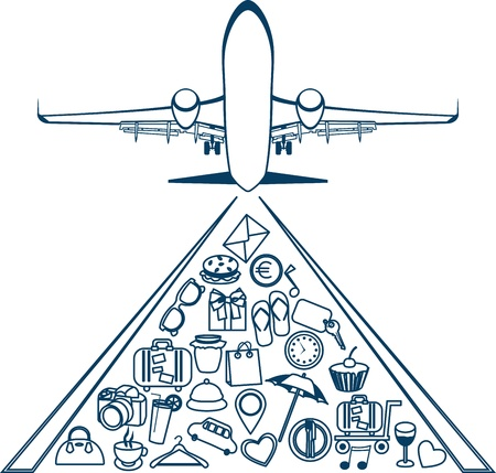 Vector silhouette of a plane  Elements of travel  Trip icons