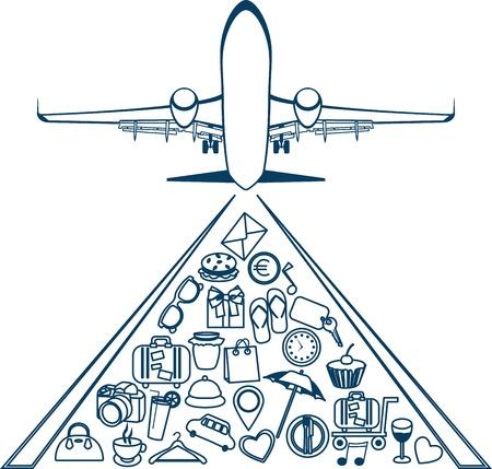 Vector silueta de un avi�n Elementos de los iconos de viaje de viaje Vectores