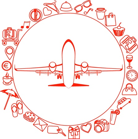 silueta roja de unos elementos planos de iconos de viaje de viaje Vectores