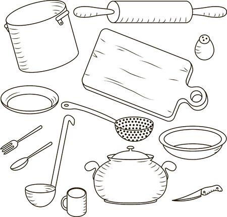 Juego de cocina y cocinar aislados en el fondo blanco Vectores