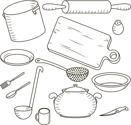set  kitchen and cooking isolated on the white background