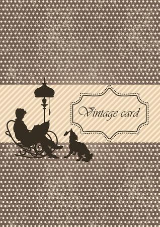 Vintage estilo tarjeta con dise�o de lunares Vectores