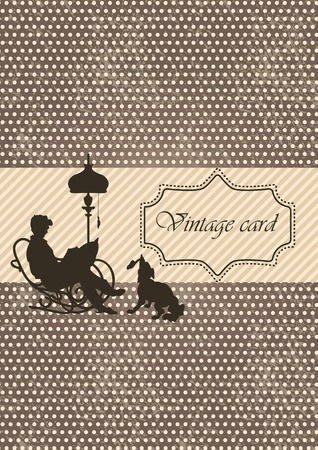 Vintage styled card with polka dot design Vector