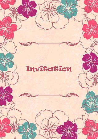 Boda tarjeta o invitaci�n con el fondo floral abstracto