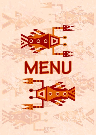 menu with seafood Vector
