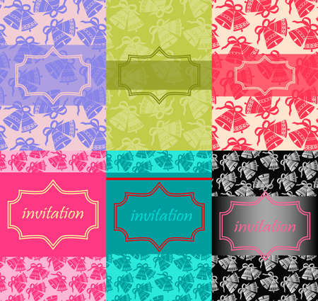 Set of 6 Wedding card or invitation Vector