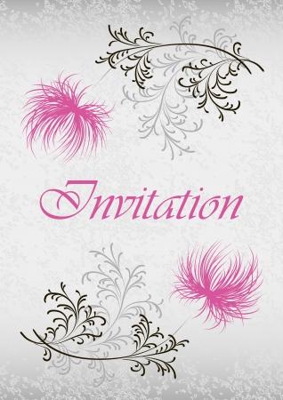 çiçek desenli ve metin ile kart Illustration