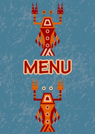 menu with seafood Stock Vector - 19586050
