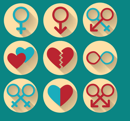 Flat   Long Shadow Icons  Sex simbols  Illustration