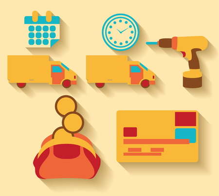 Flat design Logistic and cargo icons Illustration