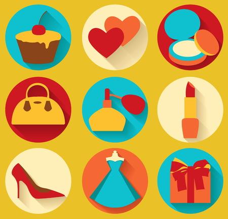 Flat design elements of feminine accessories Illustration
