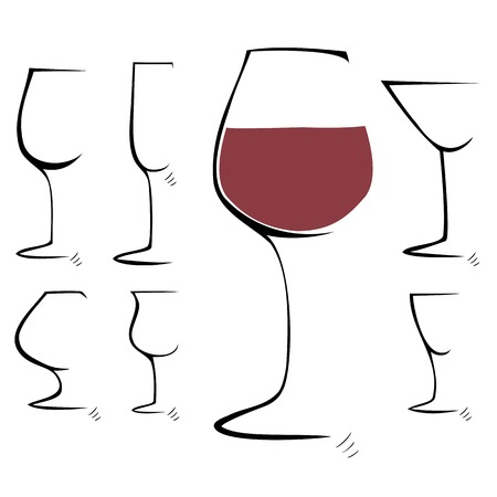 Hand drawing sketch  Set of goblet, wineglass  illustration