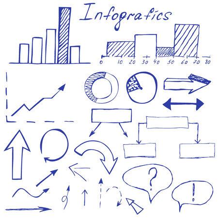 flechas dibujadas a mano y elementos infogr�ficos realizados en elementos de dise�o de negocios establecidos Vectores