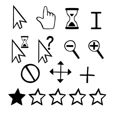Hand drawn cursors icons  finger hand and magnifier and rating stars