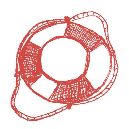 life preserver: Hand drawn sketch lifebuoy Illustration