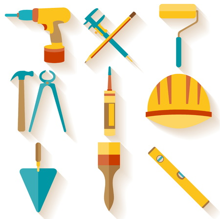 handyman tools: Set of house repair icons isolated on white background Illustration