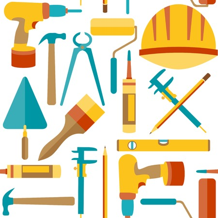 Flat design  Seamless pattern of house repair icons