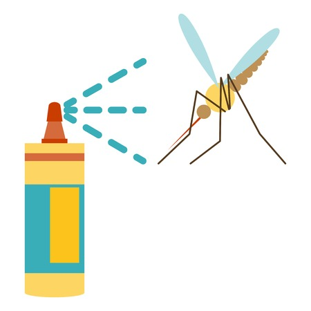 insect repellent: Flat design of repellent icon  mosquito and repellent
