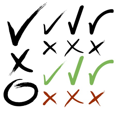 yes: Hand drawn Check mark buttons  Vector illustration