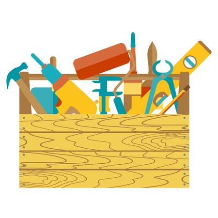Repair and construction illustration with working tools icons Vector