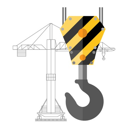 Flat design crane hook and silhouette of crane Vector