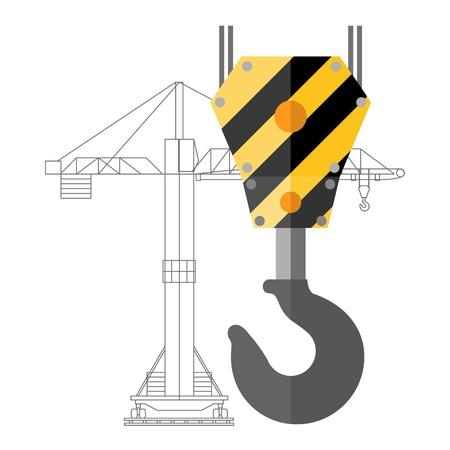 Flat design crane hook and silhouette of crane
