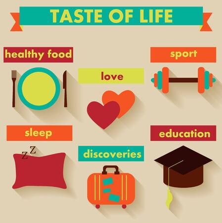 Healthy lifestyle flat icon set  Vector illustration   Illustration