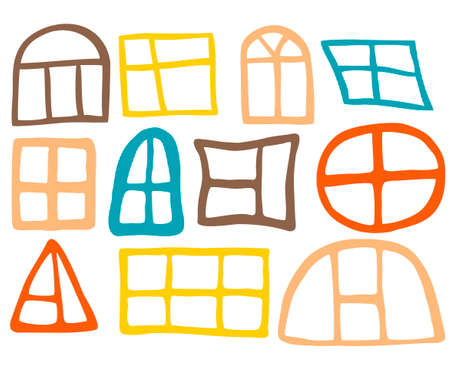 Hand drawn set of different windows  Elements for design
