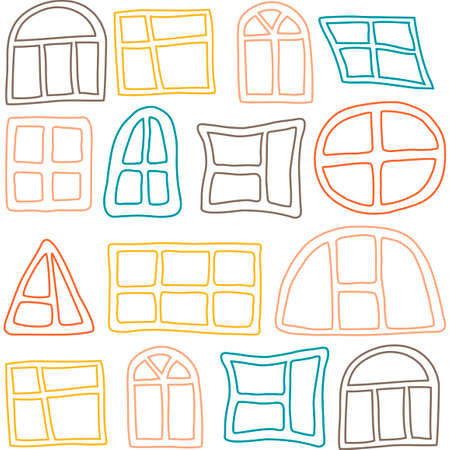 Seamless pattern with different windows