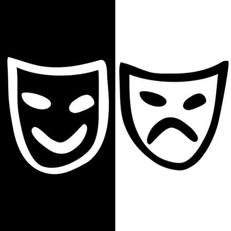 tragedy mask: Hand drawn icon with happy and sad masks  Illustration