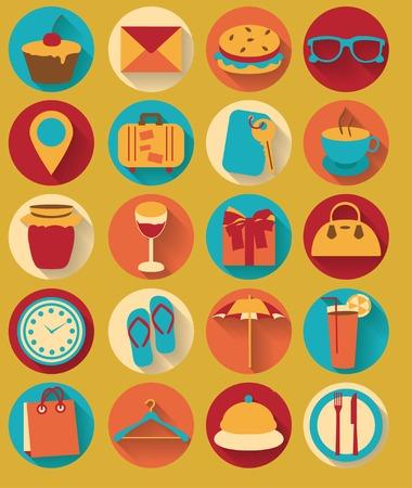 Seyahat ve gezi simgeleri Düz tasarım öğeleri