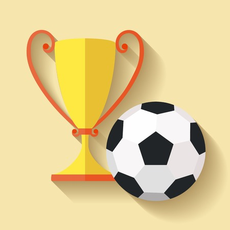 サッカー ボールとゴールド優勝カップのフラットなデザイン  イラスト・ベクター素材