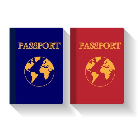 citizenship: Passports with map isolated on white background