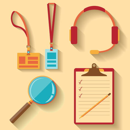 flat design of Badge, Call center icon, magnifier icon, Notebook