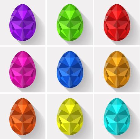 Pol�gono Dise�o plano Conjunto de colores huevos de Pascua pintados