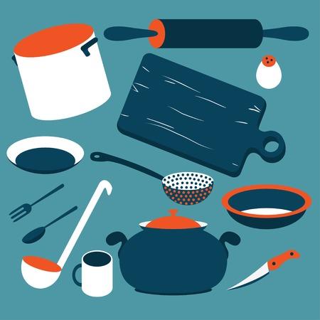 set of kitchen tools isolated on the white background Illustration