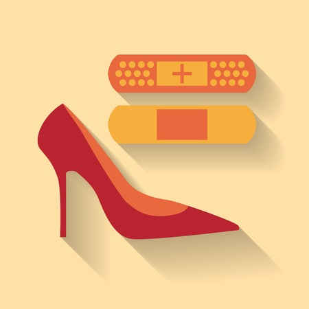 adhesive plaster: Flat design of a plaster on the blister and shoe Illustration