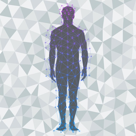 Abstract model of man on poly background Vectores