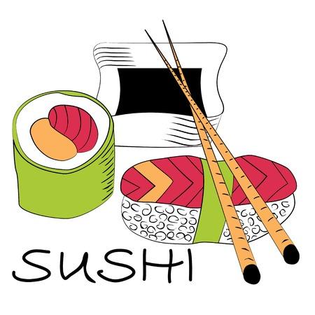 Rollo de sushi con los palillos aisladas sobre fondo blanco