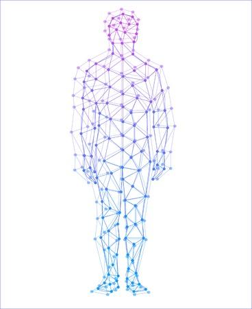 Modelo abstracto del hombre con los puntos y las líneas de fondo