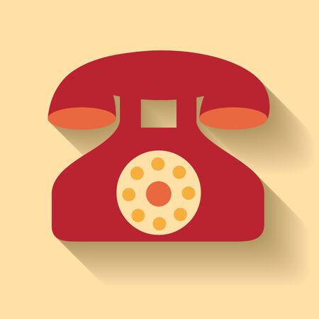 Dise�o plano del icono del tel�fono viejo Vectores