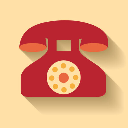 callcenter: Flat design of old phone icon