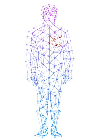 Modelo abstracto del hombre con puntos y líneas Ilustración de vector