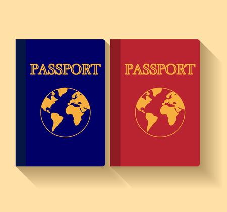 Vector Pasaportes con mapa aisladas sobre fondo blanco