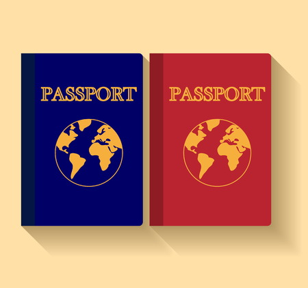 Vector Passports with map isolated on white background