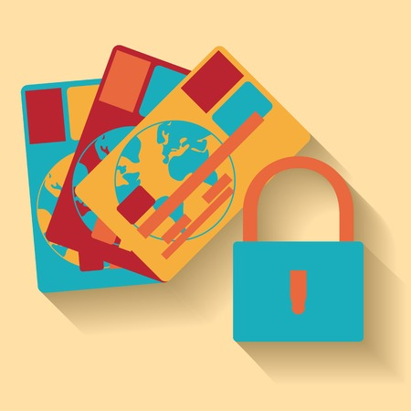 web scam: Flat design of credit card protection concept icon