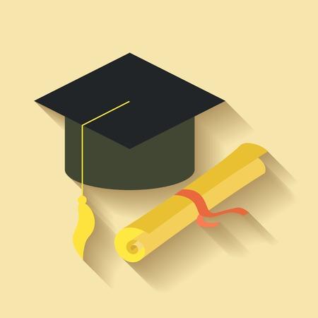 academic achievement: Flat design of student graduation hat